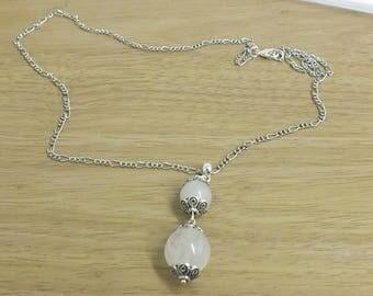 Rose Quartz 2 stone drop necklace - Love, peace, calm