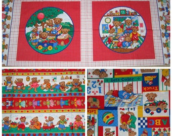 VIP Bear Pillow Panels and Fabric Yardage - 100% Cotton Fabric Material Print