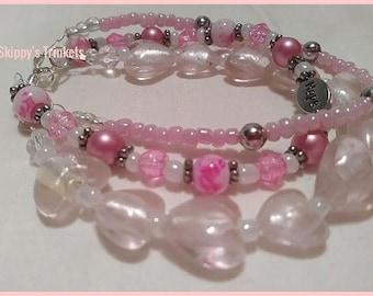 Pretty Pale Pink Three Strand Beaded Hope Bracelet