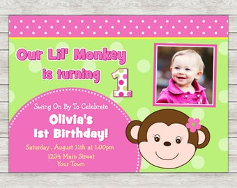 Monkey Girl Birthday Invitation, Pink Monkey Invite Girl Monkey - Printable File or Printed Invites
