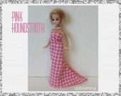 Pink Houndstooth GOWN and JEWELRY Set - Dawn Dinah Doll Clothes- Custom Fashion - by dolls4emma
