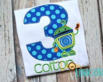 Team Umizoomi Bot Birthday Shirt - number can be changed - colors can be changed - umi zoomi