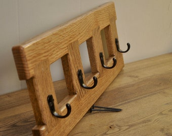 Red Oak wall-mount coat rack, with special walnut stain