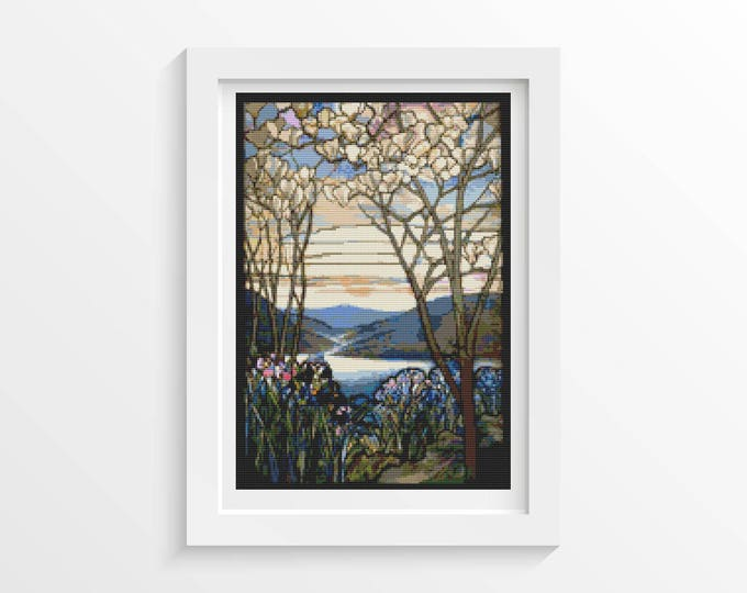Cross Stitch Kit, Embroidery Kit, Art Cross Stitch, Floral Cross Stitch, Magnolia and Irises by Louis Comfort Tiffany (TIFF01)