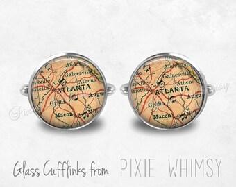 ATLANTA GEORGIA MAP Cufflinks, Map Cuff Links Vintage Map Cuff Links Silver Cufflinks, Antique Map Cufflinks, Mens Accessories, Gift For Men