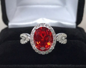 Gorgeous 3ct Orange Padparadscha Sapphire Ring Sz 7 8 Sterling Silver White Sapphires Jewelry Trends Gemstones Orange Sapphire Ring infinity