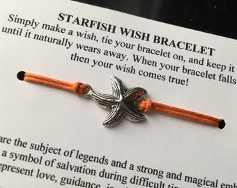 Starfish Wish Bracelet - Wish Bracelet - Starfish Bracelet - Party Favor - Wishing Bracelet - Beach Wedding - Bridesmaid Gift