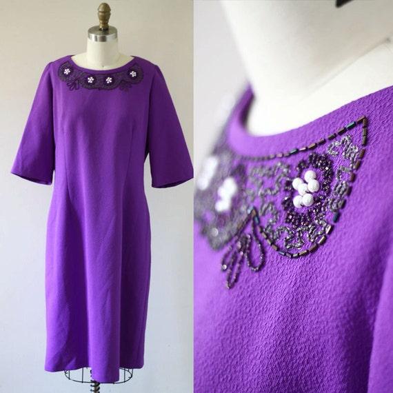 1970s purple shift dress //  1970s purple beaded dress // vintage party dress