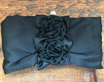 Black Satin Evening Purse Clutch Shoulder Bag with Flowers