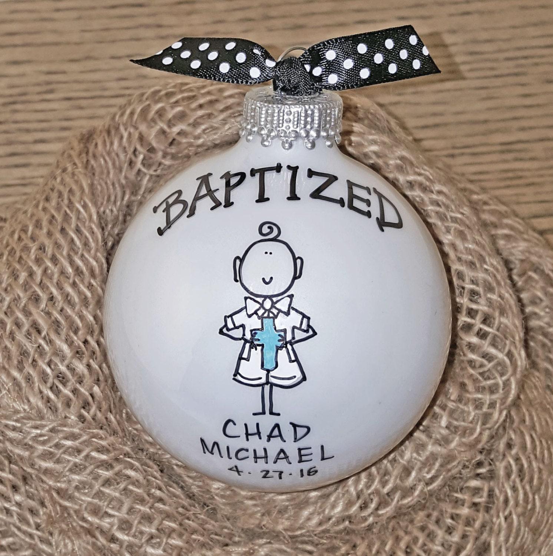 Baptism Ornament Christmas Ornament Personalized Baby: Baptism Ornament, Cross Ornament, Boy Baptism Ornament