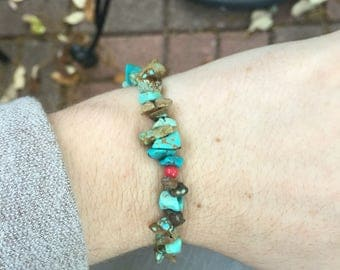 Red Glass/ Turquoise Bead Bracelet