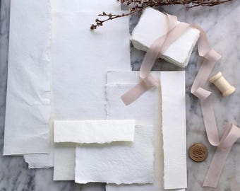 Handmade Paper Sample Pack, Handmade Paper, Deckle Edge, Cotton Rag Paper, Flat Lay Styling, Handmade Paper, Silk Ribbon, Styling Bundle