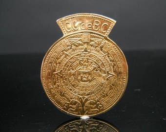 Sterling Silver Mayan Calender Brooch Or Pendant CCdeBC Gold Over 925 Jewelry