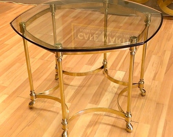 Vintage Solid brass side table glass top
