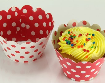 Reversible Polka Dot Wrappers Red White Cupcake Wrap Liners
