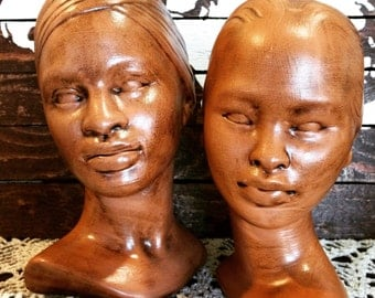 Vintage Marwal Busts in Brown Gold - Male and Female
