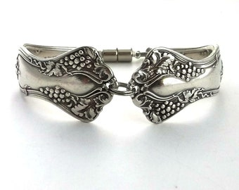"Antique Spoon Bracelet ""Vintage"" 1904 Has a grape motif design 1847 Rogers Bros."
