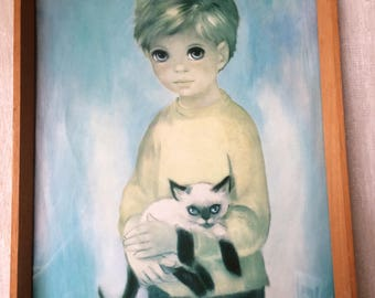 Vintage Big Eye Dallas Simpson Framed print of Little Boy holding a Siamese Kitten