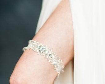 Silver Lace Bridal Garter, Crystal Wedding Garter, Silver Ruffle Garter, Gold Wedding Garter, Crystal Bridal Garter, Rhinestone Garter MOLLY
