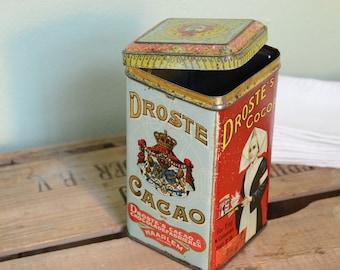 Vintage Dutch Droste cocoa powder tin vintage advertising kitchen storage wedding gift housewarming gift