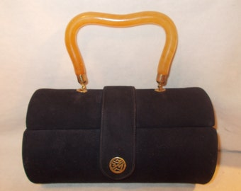 Stunning VINTAGE 1950 Nicholas Reich black suede barrel box bag Bakelite handle