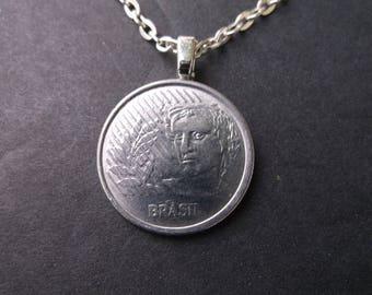 Brasil 10 Cenavos Coin Necklace -Brasil Coin Pendant