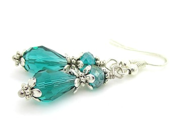 Emerald Green Crystal Drop Earrings, Emerald Bridesmaid Earrings, Dark Green Bridal Jewellery, Bridesmaid Sets, Emerald Wedding Jewellery