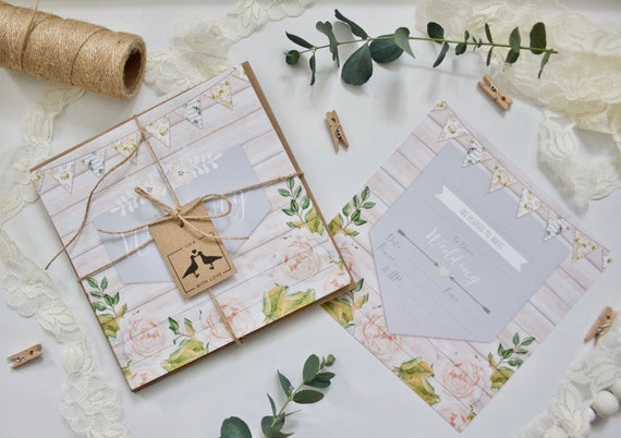 PRINTED - Non-Personalised Rustic Wedding Invitations Invites with Kraft Envelopes - 148 x 148mm square Wooden Grey Peachy Floral 2-Sided