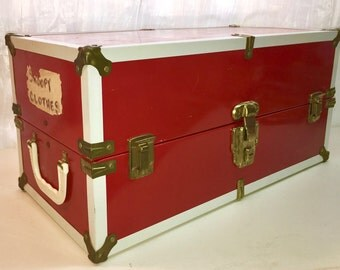Vintage Doll Trunk Metal Red. Doll Storage, Carrier. Mid-Century. Atomic Interior.