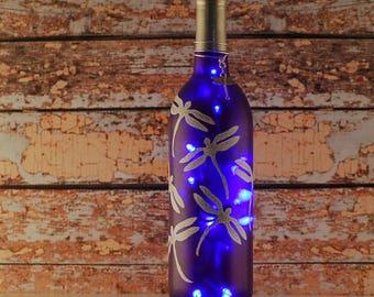 Purple wine bottle light, dragonfly lamp, hand painted bottle, accent lamp, dorm decor