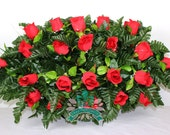 XL Beautiful Classic True Red Roses Cemetery Tombstone Saddle Arrangement