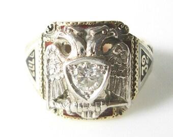 32nd Degree Masonic Scottish Rite Of Freemasonry 14K Gold and enamel Diamond Ring Dated 1948 Size 8.25