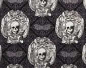 Skulls and Bats Damask Print, Gothic Skulls by Michael Miller, Halloween Fabric, Black White Gray