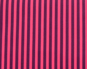 SALE One Yard Light Fuchsia Pink and Purple Stripe Cotton Fabric / Clown Stripe Jewel - Michael Miller Fabrics