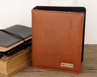 vintage DAY-TIMER cowhide leather 7 ring binder A5 paper size
