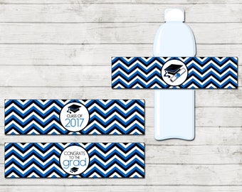 Water Bottle Labels - Graduation - Class of 2017 - Graduation Party - Blue Black and White - INSTANT DOWNLOAD - Printable