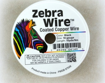 Zebra Wire, BLACK 18g (1714) - Coated Copper Wire - 18 Gauge Wire for Wire Wrapping - 10 yard spool