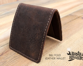 Brown Leather Wallet, Wild Hog Leather, Mens, Handmade, Made In USA, Bifold, Bill Fold, Quality, Made By Hand, Money, Perfect