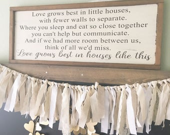 Love grows best in little house wood sign - Love grows best sign - Inspirational Wood Sign - Housewarming Gift - Farmhouse Decor
