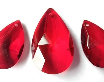 3pc Set Teardrop Crystals for Princess Crown Red 38mm and 50mm Chandelier Prisms