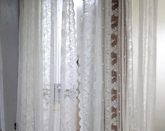 Shabby Chic Fairy Tale Vintage Idyllic Large Size White Embroidery Lace Sheer Curtain Drape