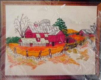 "Red Barn Crewel Embroidery Stitchery Kit by Pik 14"" x 18"", Rural Farm Scene"