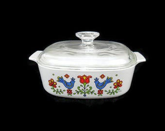 Corning Ware Country Festival Baking Dish* Square 2 Quart Casserole with Lid * Pyrex Friendship Compatible * Bluebirds