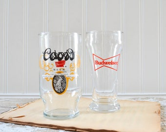 Vintage Coors and Budweiser Beer Glasses - Bowtie Logo Barware Pint Glass