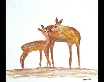 SALE Fawn art painting fawn original watercolour fawn illustration woodland animal art nursery art deer painting fawn artwork 9 X 12 inch