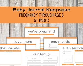 BABY KEEPSAKE JOURNAL Kit - 51 page pdf - Printable Baby Memory Book - Baby Shower Gift - Orange and Gray