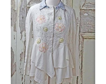 Shabby Chic White Eyelet Jacket Upcycled Clothing Summer Romantic Clothing Women's Eyelet Jacket Wearable Art Bride Jacket Festival Clothing