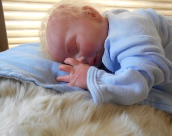 Reborn Baby Boy, Preemie, 16 Inches, Newborn, Natural Curly Mohair, Fake Baby, Realistic, Lifelike, Magnetic Paci, by Babies4U Nursery