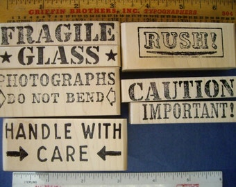 7 Wood Mounted Rubber Stamps Mailing package, Photographs  Rush, Fragile, Handle with Care, Caution, Glass, Important FREE USA SHIPPING