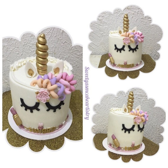Cake Decorating Unicorn Horn : Items similar to Unicorn horn & ears cake toppers on Etsy